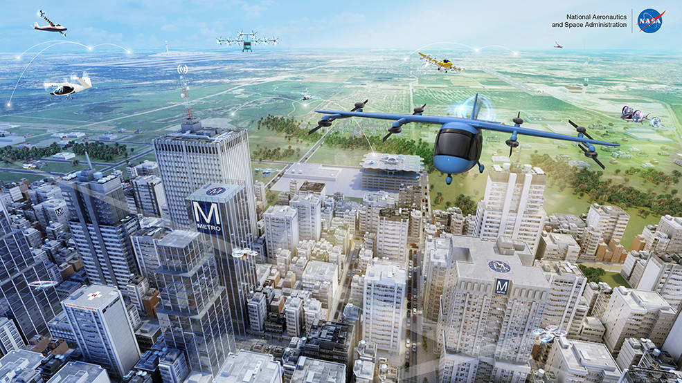 Advanced Air Mobility, with its many vehicle concepts and potential uses in both local and intraregional applications, is shown