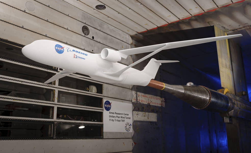 experimental aircraft with a braced wing inside a windtunnel