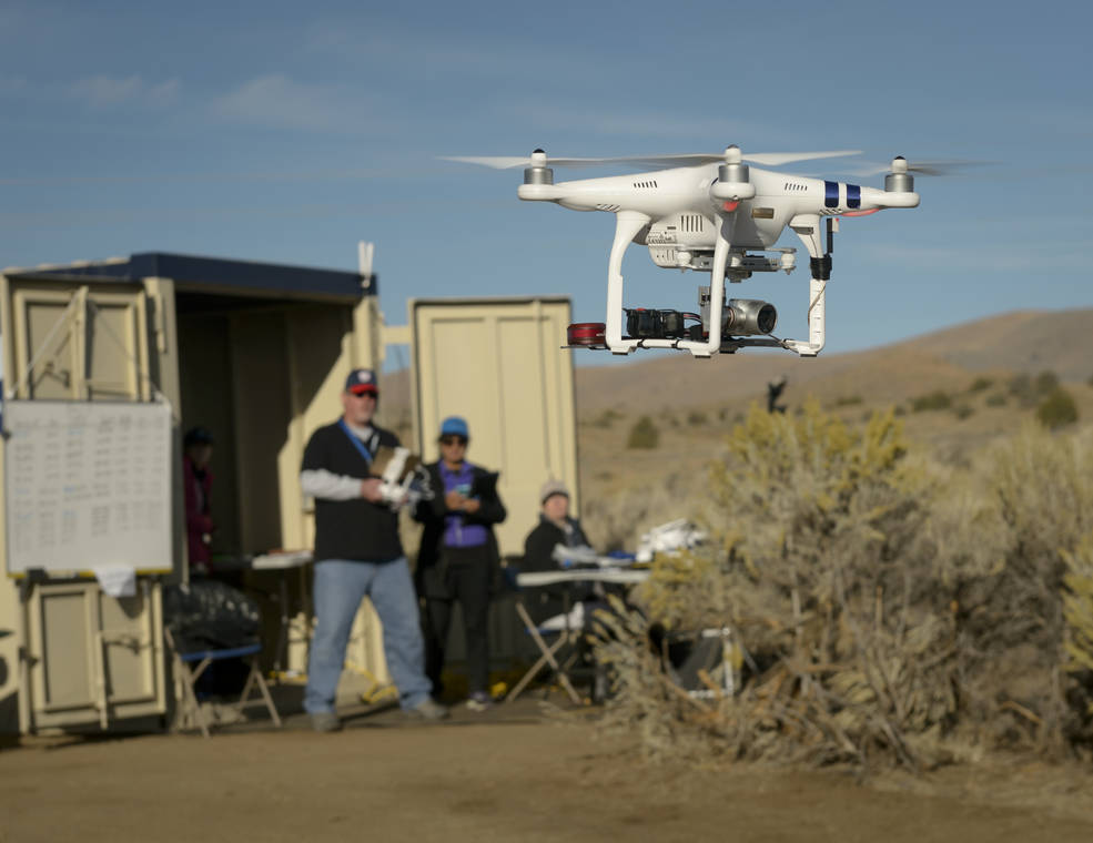The Phantom 3 multi-copter being flown at the TCL2 Demonstration at Reno-Stead Airport, October 2016