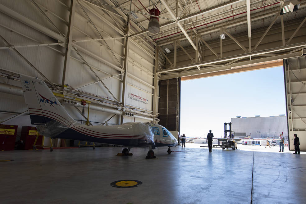 NASA's X-57 Maxwell, the agency's first all-electric X-plane, is delivered to NASA's Armstrong Flight Research Center