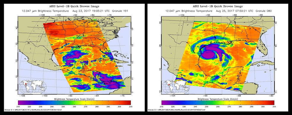 Hurricane Harvey as seen by the AIRS infrared instrument