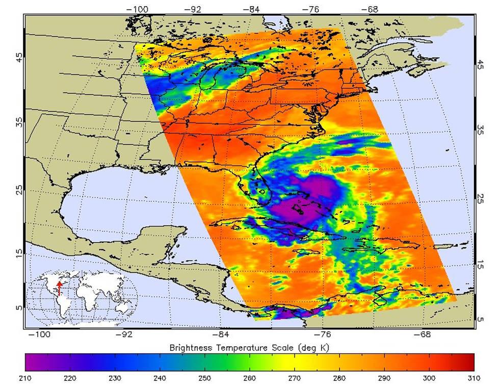 Infrared image of Hurricane Matthew