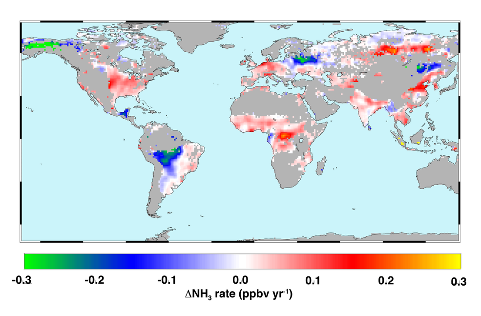 Global atmospheric ammonia trends