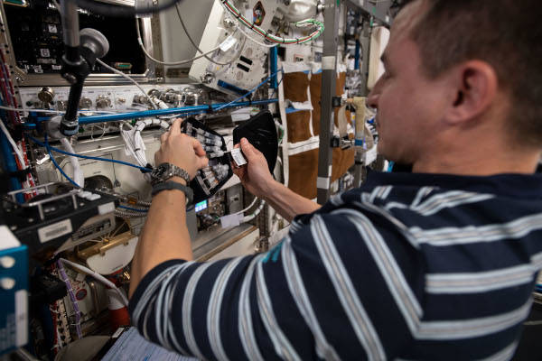 astronaut Andrew Morgan working performing science inside the space station