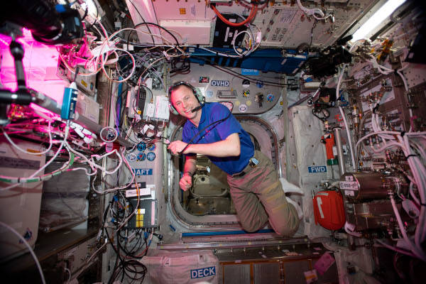 astronaut Nick Hague inside the space station