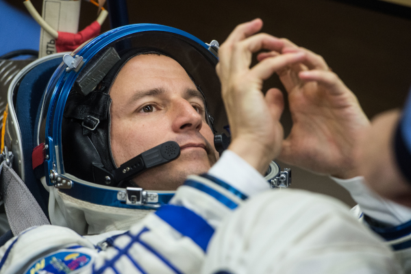 astronaut andrew morgan in a space suit