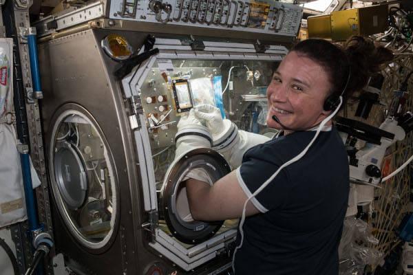 Η Serena Auñón-Chancellor διεξάγει έρευνες για τη θεραπεία του καρκίνου του AngieX στο πλαίσιο του Microgravity Science Glovebox