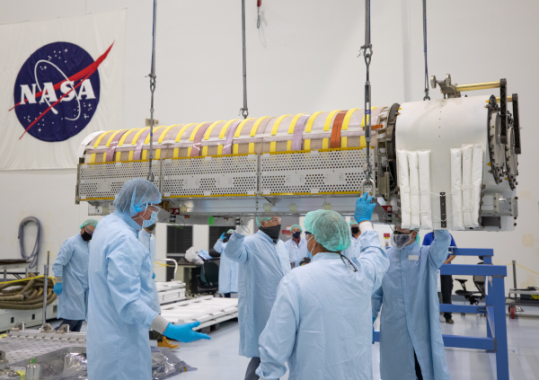 solar arrays being prepped for launch into space