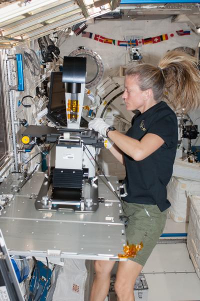 Nyberg στο JEM (Kibo) με μικροσκόπιο φθορισμού MSPR.