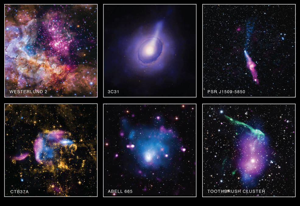 A composite image of a collection using Chandra X-ray Observatory's data in its archive to celebrate American Archive month.