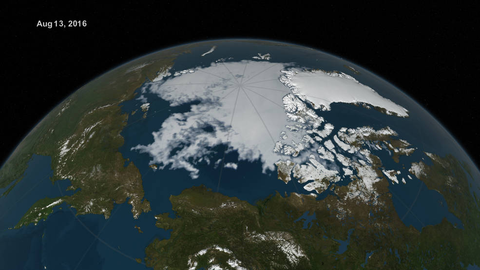 visualization of Arctic sea ice extent on Aug. 13, 2016