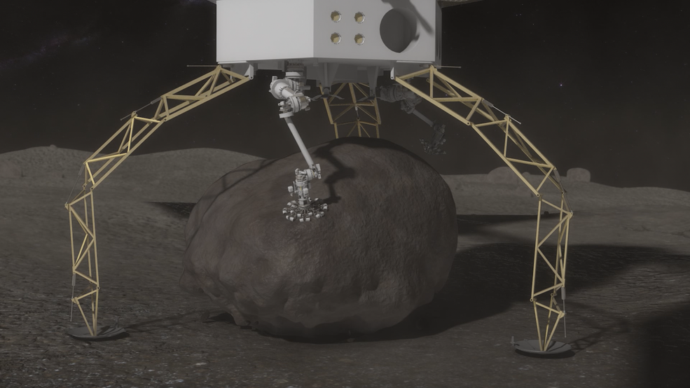 Concept images showing the ARV collecting the boulder.