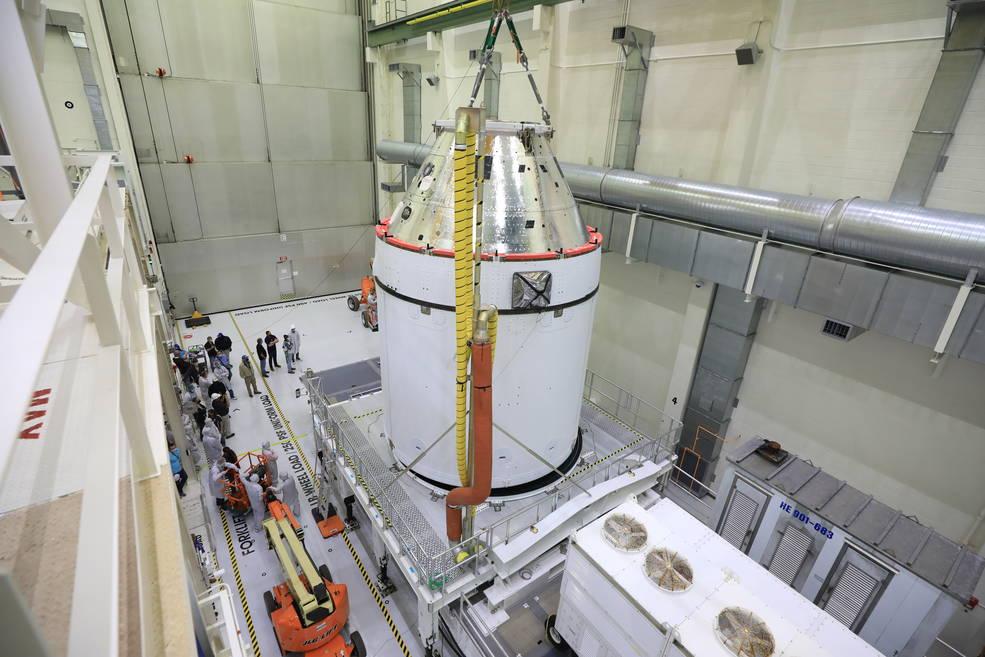 Orión pasará de la fabricación y el ensamblaje, al procesamiento para el vuelo de la misión Artemis I.