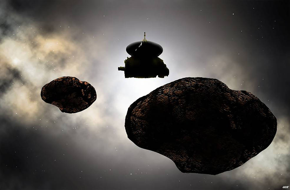 Artist's concept of NASA's New Horizons spacecraft flying by a possible binary 2014 MU69 on Jan. 1, 2019.