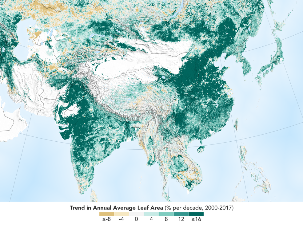 A map showing increases in leaf area per year, represented in green. India and China stand out with large areas of dark green.