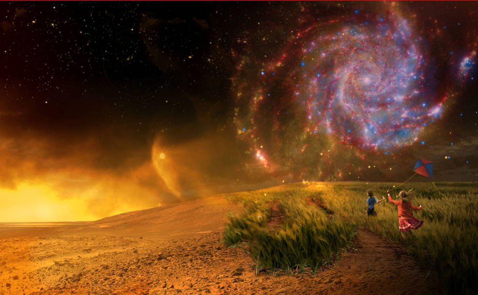 Artist concept of planet surface with galaxy in sky at left and children running in field