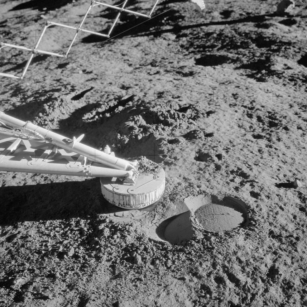 Close-up view of a footpad of Apollo 12 Surveyor 3 spacecraft