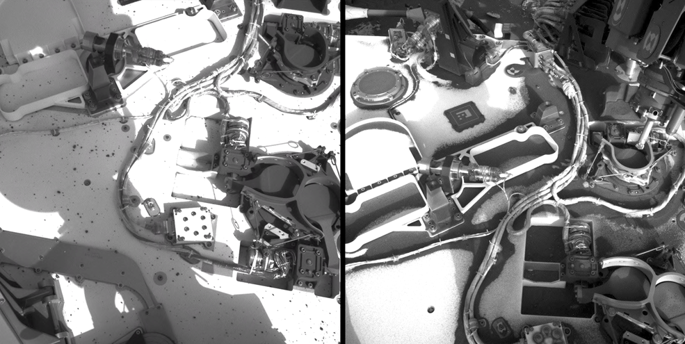 before and after images of technology covered by dust