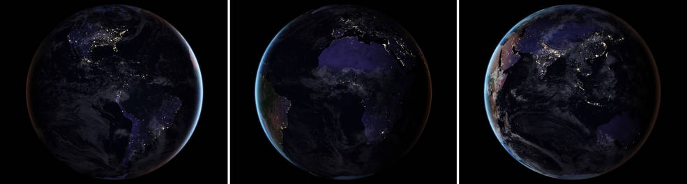 triptych composite of Earth at night, 2016 (l to r: North and South America, Europe and Africa, Asia and Australia)