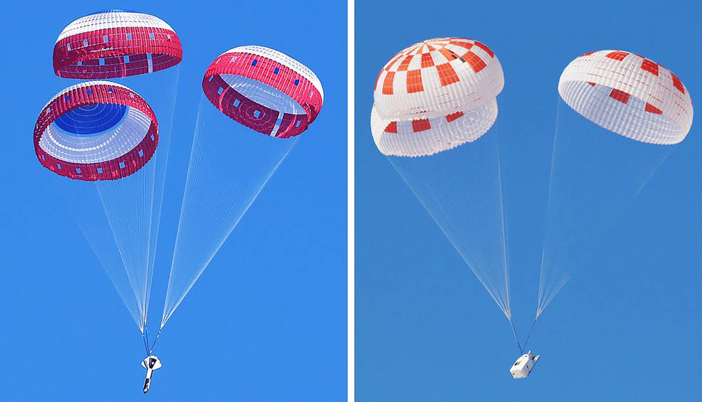 Boeing, at left, and SpaceX, at right, conducted drop tests on their parachutes.