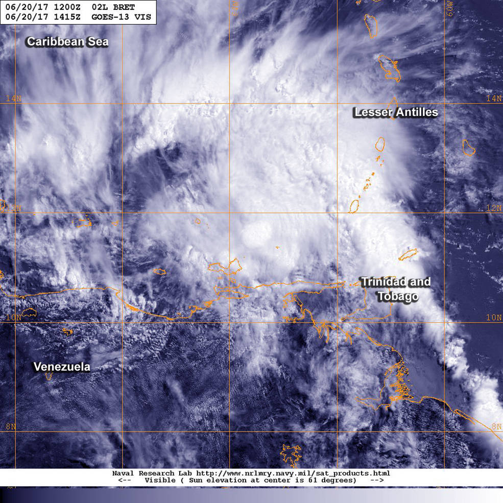 GOES-East image of Tropical Storm Bret