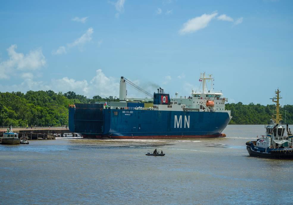 The ship MN Colibri, docked.
