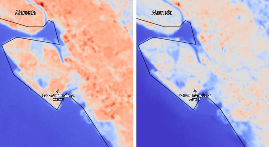 satellite data of air pollution over California airport