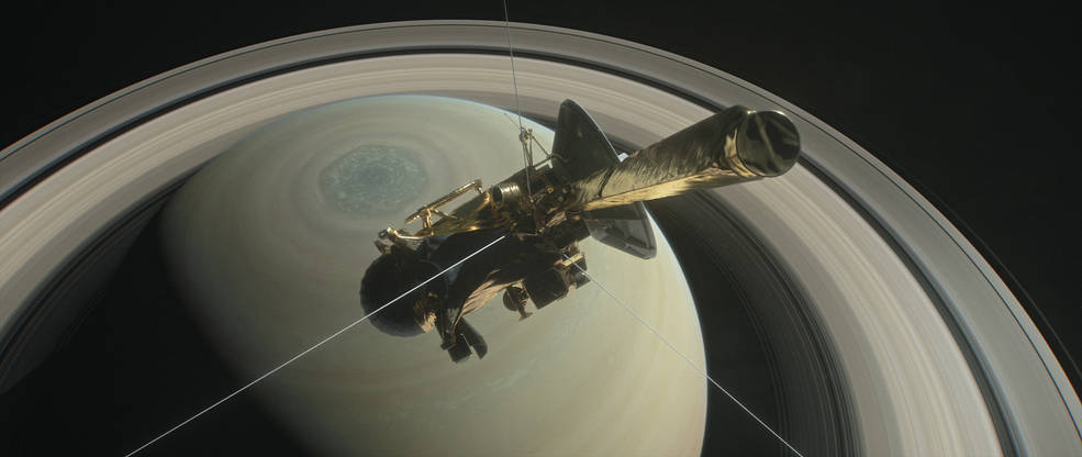 This illustration shows NASA's Cassini spacecraft above Saturn's northern hemisphere prior to one of its 22 grand finale dives.