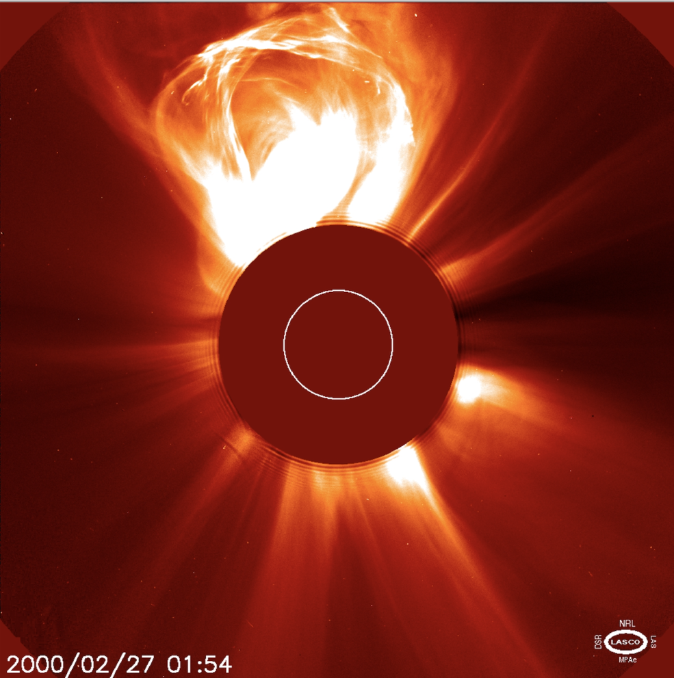 n this image, taken by the Solar and Heliospheric Observatory on Feb. 27, 2000, a CME is seen erupting from the Sun