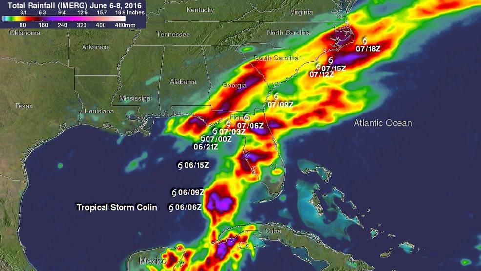 NASA Examined Tropical Storm Colins Heavy Rainfall from Space  NASA