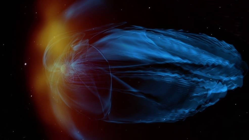 An artist concept of a coronal mass ejection hitting young Earth's weak magnetosphere.