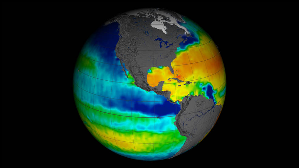 NASA /CONAE'sAquarius satellite (2011-2015) collected sea surface salinity (saltiness) data over the entire globe. Today, the