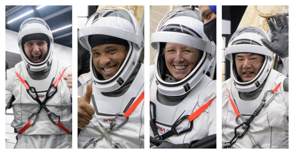 Crew-1 astronauts pictured after their return to Earth: NASA astronauts Mike Hopkins, Victor Glover, and Shannon Walker and Japan Aerospace Exploration Agency (JAXA) astronaut Soichi Noguchi.