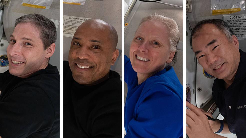 In senso orario da in basso a destra i membri della Crew-1 sono Michael Hopkins, Victor Glover, Shannon Walker e Soichi Noguchi.