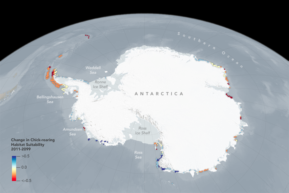 space perspective of Antarctica with data overlay
