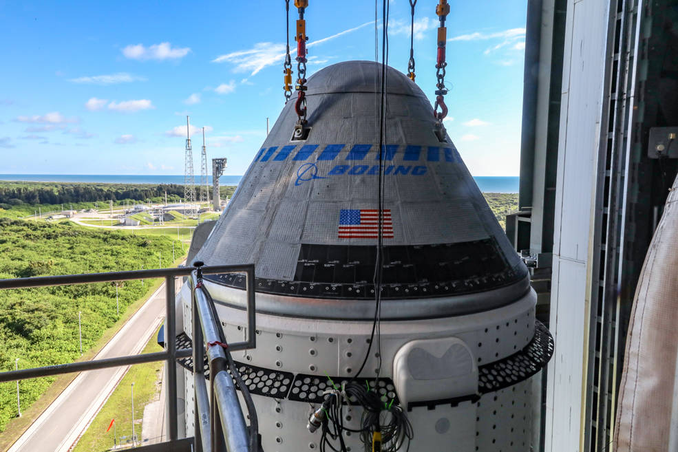 The Boeing CST-100 Starliner spacecraft is secured atop a United Launch Alliance Atlas V rocket on July 17, 2021.