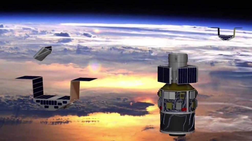 Artist's concept of the deployment of the eight Cyclone Global Navigation Satellite System (CYGNSS) microsatellite observatories