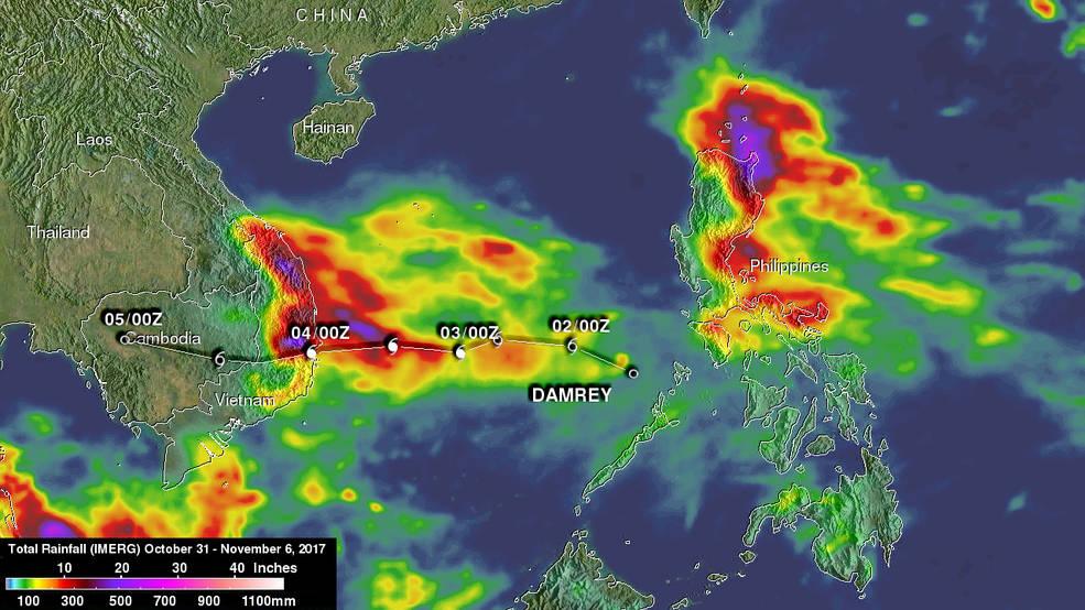 IMERG image of Typhoon Damrey's rainfall