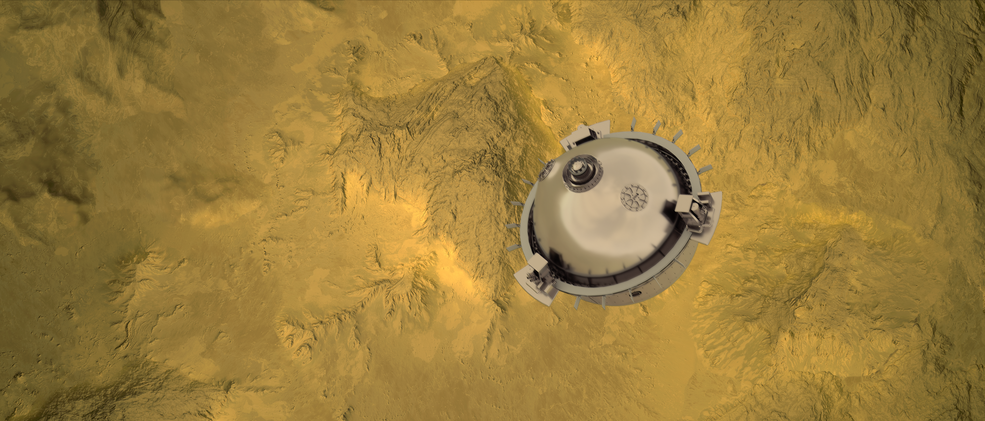 DAVINCI+ will send a meter-diameter probe to brave the high temperatures and pressures near Venus' surface to explore the atmosphere from above the clouds to near the surface of a terrain that may have been a past a continent.