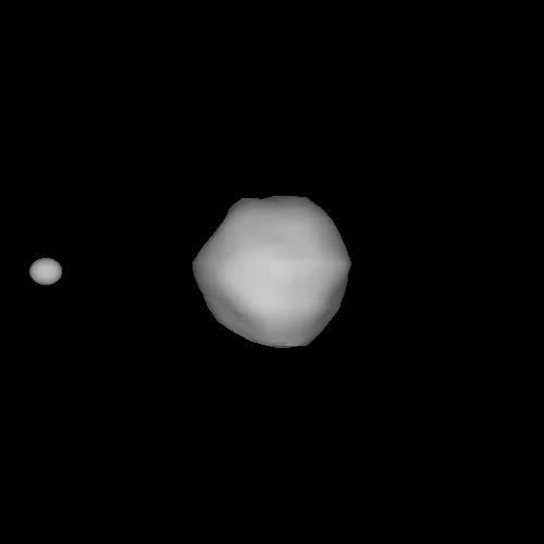 Imagen simulada del sistema Dídimo, derivada de los datos fotométricos curva de luz y de radar.