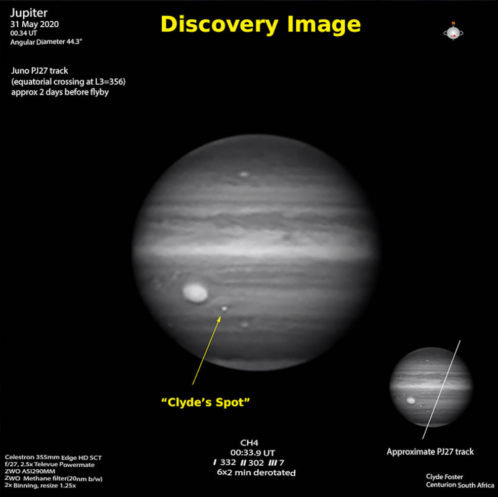 Figure B shows Jupiter as captured by Foster's telescope, and the Juno spacecraft's approximate trajectory as it zoomed close by