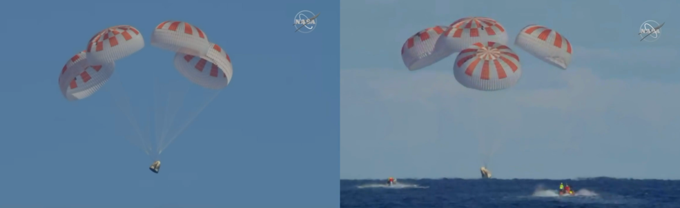 SpaceXs Crew Dragon splashed down at 8:45 a.m. March 8, 2019, in the Atlantic Ocean