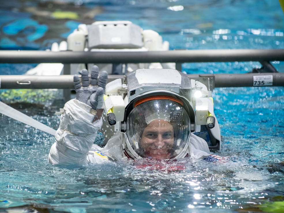 NASA astronaut Morgan enters the Neutral Buoyancy Lab in preparation for space flight activities.