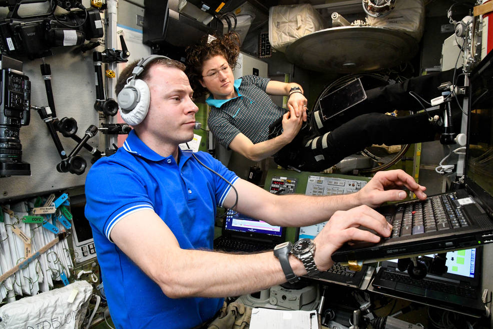 NASA astroanauts Christina Koch and Nick Hague