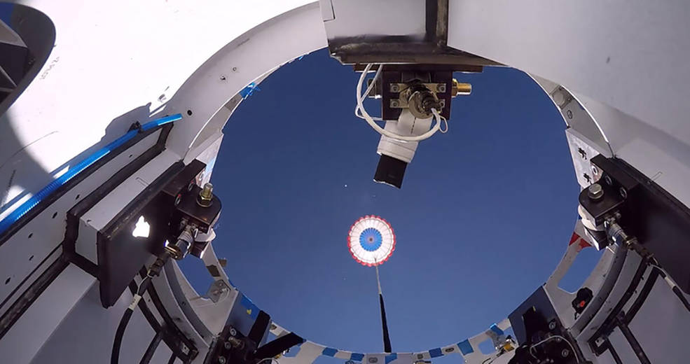 A reused drogue parachute deploys from Boeing's CST-100 Starliner test article