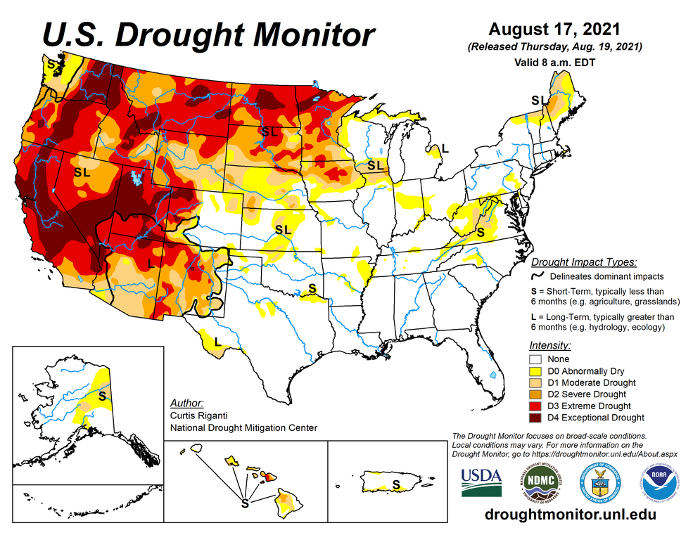 A map of drought conditions in the U.S. as of August 17, 2021. Much of the west is in exceptional or extreme drought, shown in red and dark red respectively.