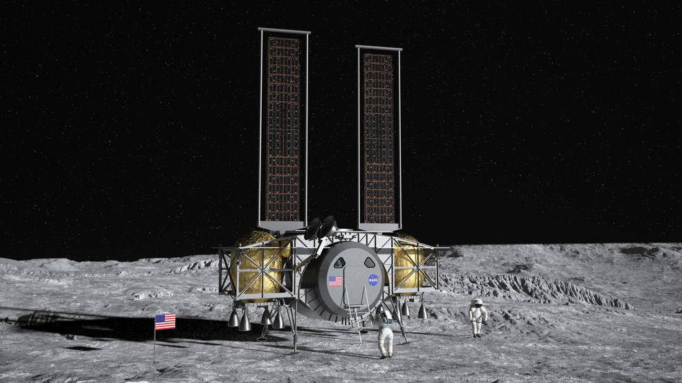 Artist concept of the Dynetics Human Landing System on the surface of the Moon.