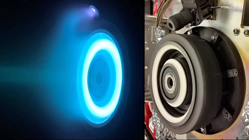 At left, xenon plasma emits a blue glow from an electric Hall thruster