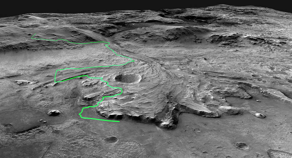 A possible route the Mars 2020 Perseverance rover