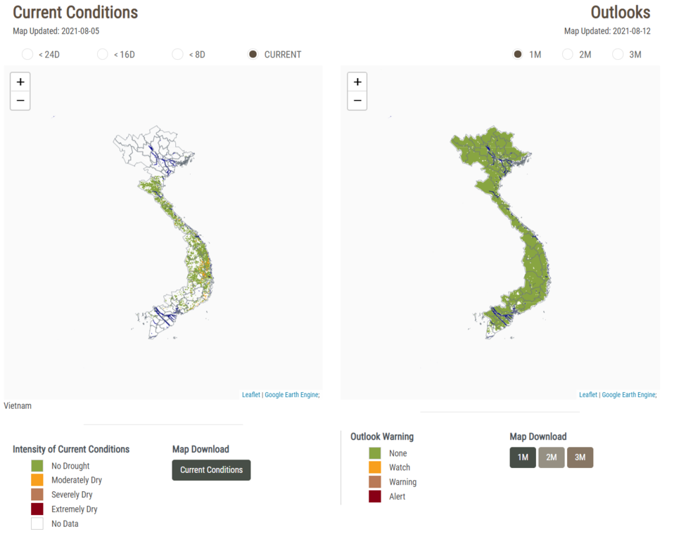 NASA SERVIR's drought and crop watch tool allows users to choose their region and see current drought conditions and drought outlooks for the future. The image shows conditions in Vietnam on Aug. 5, 2021 (left) and a one month forecast beginning on Aug. 12, 2021 (right). Credit: NASA SERVIR/Mekong Drought and Crop Watch